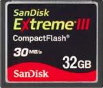 32GB SanDisk Extreme III CompactFlash