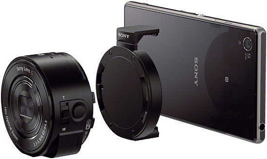 """The Sony DSC-QX10 and DSC-QX100 lens-sensor modules attach to your smartphone to provide """"image quality and creative options to rival a premium standalone ..."""