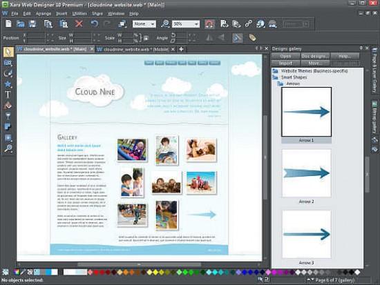 Xara Web Designer 10 Premium Photography Blog
